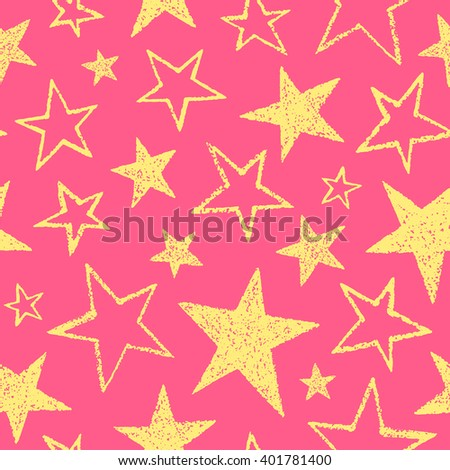 Yellow stars seamless vector pattern. Rough texture, uneven edges. Brush drawn five-pointed stars of different size. Birthday, festive colorful background. Doodle style star shapes.  - stock vector