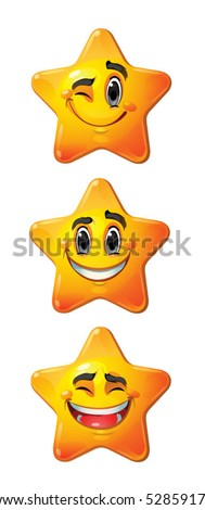 Yellow stars with smiling faces, eyes, mouth and brushes. Vector set of characters. - stock vector