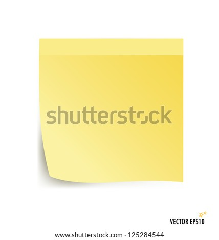 Yellow stick note isolated on white background, vector illustration.