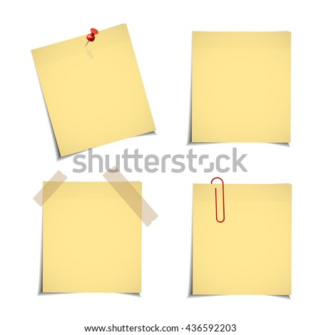 Yellow stick note isolated on white background, vector illustration