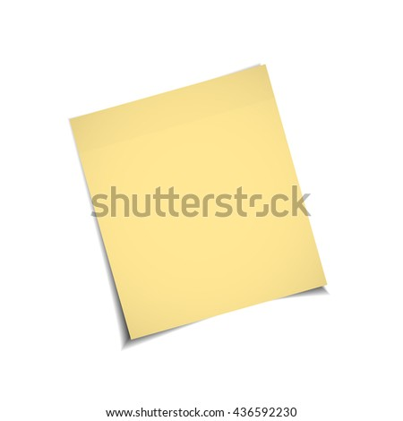 Yellow stick note isolated on white background, vector illustration - stock vector