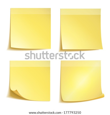 Yellow stick note paper on white background - stock vector