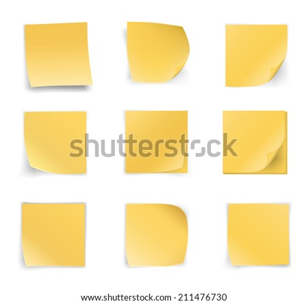 Yellow stick notes on white background, vector illustration - stock vector