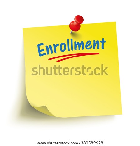 Yellow stick with red pin and text Enrollment. Eps 10 vector file. - stock vector