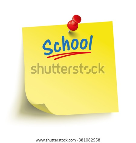 Yellow stick with red pin and text School. Eps 10 vector file. - stock vector