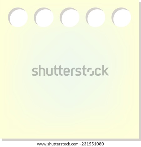Yellow sticker background with holes - stock vector