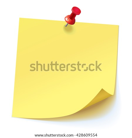 Yellow sticker pinned red pushbutton with curled corner, ready for your message. Vector illustration. Isolated on white background. Front view. Top view. Close up. - stock vector