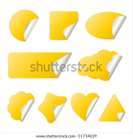 yellow stickers in different shapes isolated on white, vector illustration - stock vector