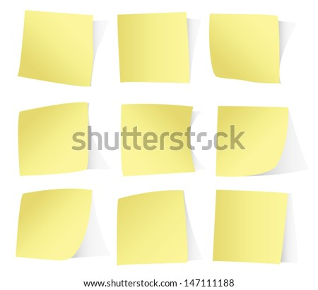 Yellow stickers isolated on white background vector eps10 - stock vector