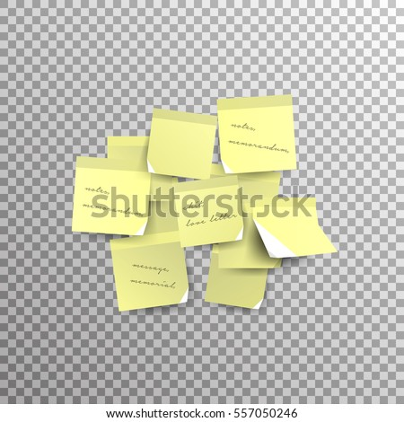 Yellow Sticky Note Isolated On Transparent Stock Vector