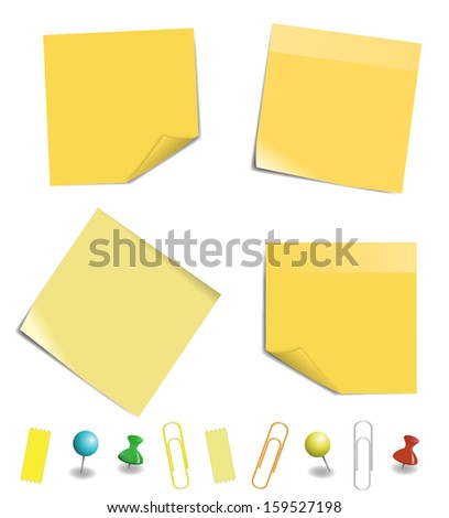 yellow sticky note paper isolated on white background, vector illustration - stock vector