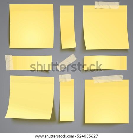 Yellow sticky note with adhesive tape isolated on grey background verctor illustration