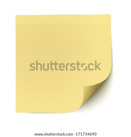Yellow sticky note with deflected corner isolated on white background - stock vector
