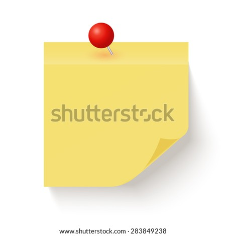 Yellow sticky note with the curled corner isolated on white background with red pin. Vector illustration - stock vector
