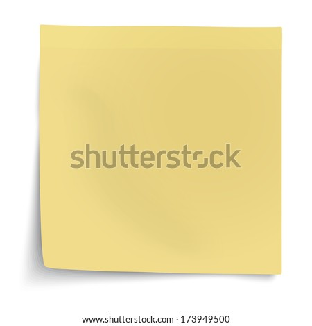 Yellow sticky note with turned up corner isolated on white background. Light from the right. - stock vector