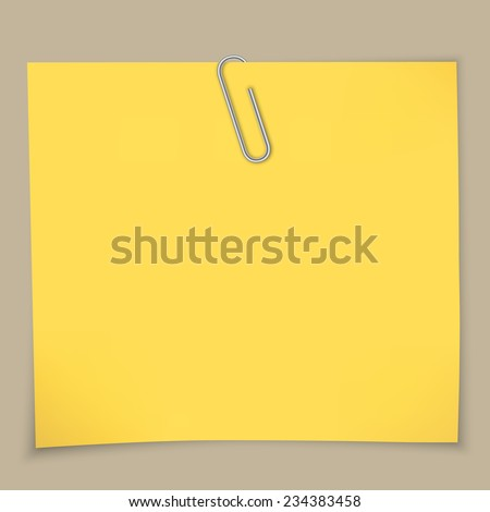 Yellow sticky notes and paper clip. A vector illustration. - stock vector