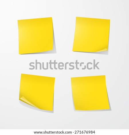 Yellow Sticky Notes. EPS10 vector. - stock vector