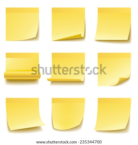 Yellow sticky notes isolated on white background. - stock vector