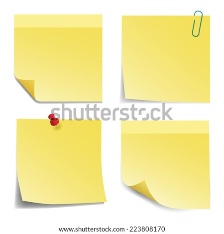 Yellow sticky notes on white background. Vector illustration.