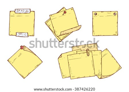 Yellow Sticky notes Vector set. Hand drawn doodle paper sheets for messages. Collection of memos blank - stock vector