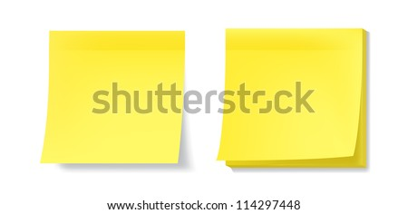 Yellow sticky notes with realistic effects. EPS10 vector. - stock vector