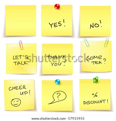 yellow sticky papers set - stock vector