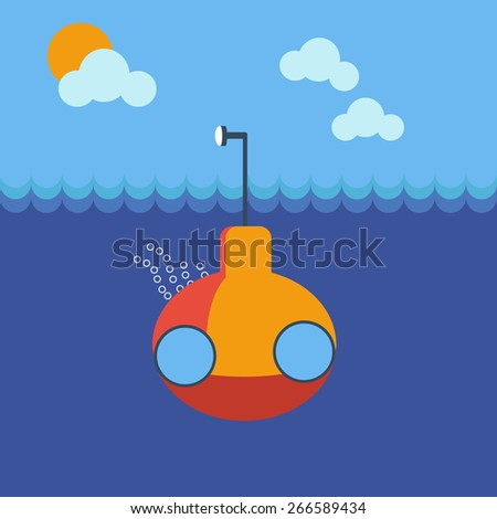 Yellow submarine underwater front view. Kids book picture. Digital background vector illustration.  - stock vector