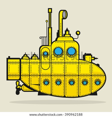 Yellow Submarine, vector illustration. - stock vector
