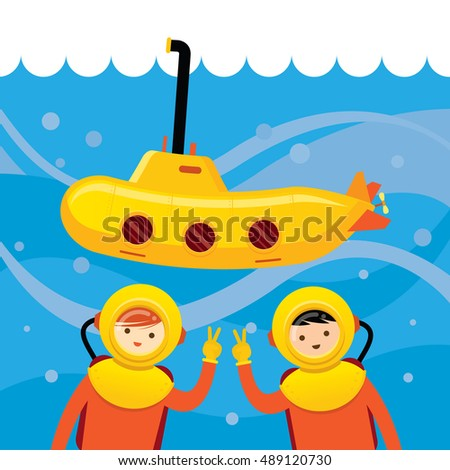 yellow submarine kids diving under sea stock vector 489120730 rh shutterstock com under the sea clipart black and white under the sea clip art printable free