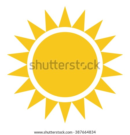 Yellow Sun burst icon isolated on background. Modern simple flat sunlight, sign. Business, internet concept. Trendy vector summer symbol for website design, web button, mobile app. Logo illustration  - stock vector