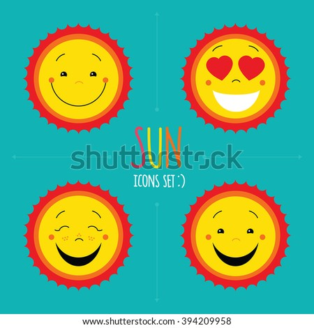 Yellow sun flat icons set on blue background. Vector cute kid happy smile faces. Cartoon characters. Symbols collection. Logo designs. Emoticons for web and print. - stock vector