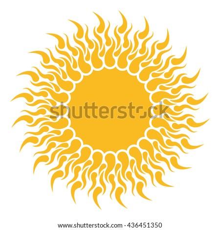Yellow sun shape isolated on white background. Abstract Flat sun shape with tongues of fire. - stock vector