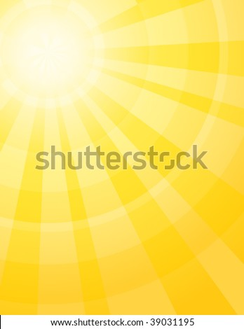 Yellow sunburst - stock vector