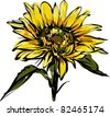yellow sunflower design - stock vector