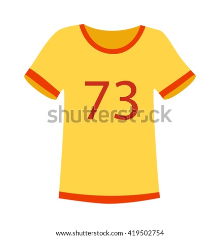 Yellow T-shirt on white background. Fashion yellow sport t-shirt vector and yellow sport t-shirt clothing. Casual yellow sport t-shirt wear and cotton yellow sport t-shirt. Body textile sport t-shirt. - stock vector