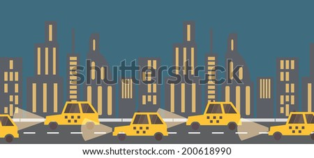 Yellow taxi banner, night time in the city. Street view. Flat design vector illustration - stock vector
