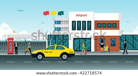 Yellow Taxi passenger in front of the airport. - stock vector