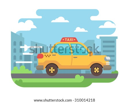 Yellow taxi speeds down street with city buildings, clouds and blue sky in background. - stock vector