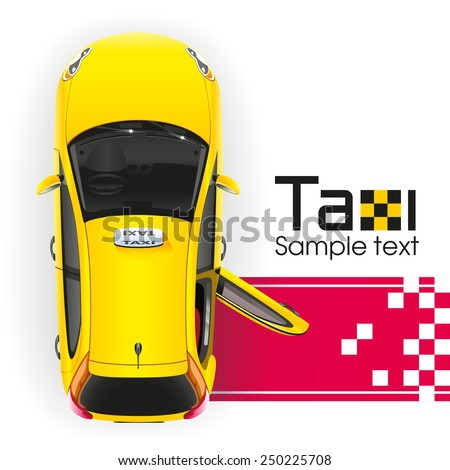 Yellow taxi with the door open will have a very important person on the red carpet - stock vector