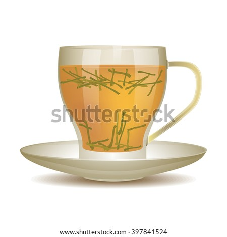 Yellow tea in cup of glass with tea leaves. Vector illustration.