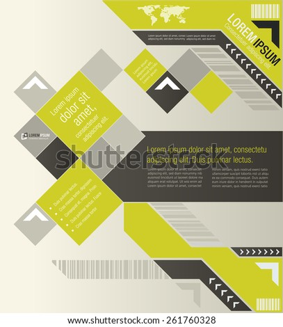 Yellow template for advertising brochure  - stock vector
