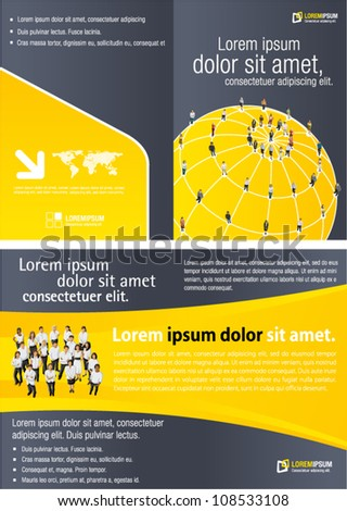 Yellow template for advertising brochure with connected people over earth globe. Social network. - stock vector