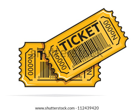 Yellow ticket - stock vector