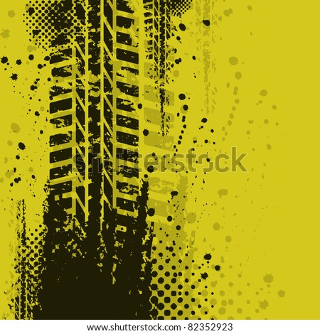 Yellow tire track background - stock vector