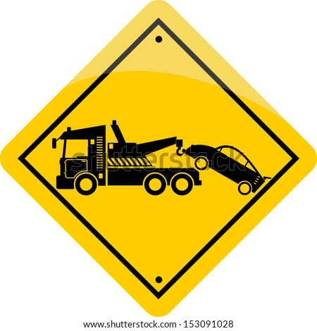 yellow tow road sign - stock vector