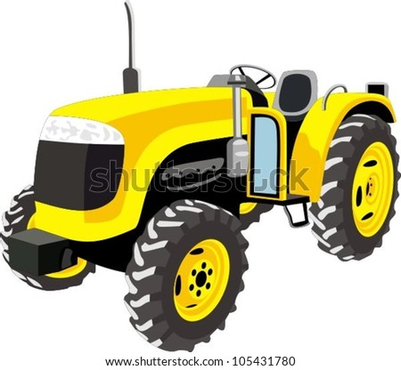 Yellow Tractor isolated on white