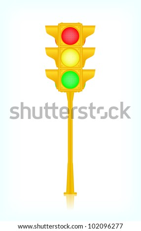 Yellow traffic light, vector, 10eps.