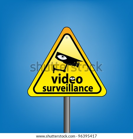 Yellow triangle hazard warning sign against blue sky - CCTV surveillance in operation concept, vector version - stock vector