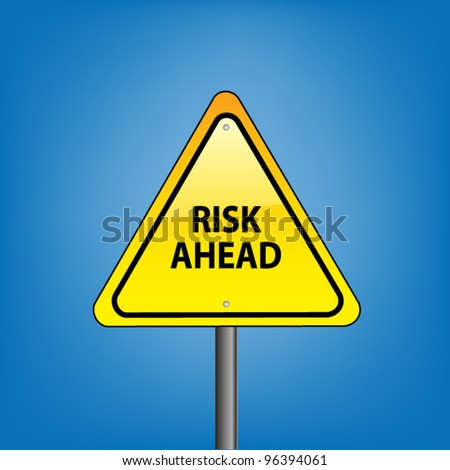 Yellow triangle hazard warning sign against blue sky - risk ahead indication, vector version - stock vector