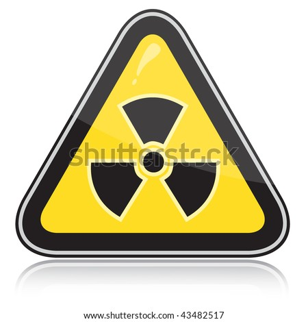 Yellow triangular warning sign of radiation hazards